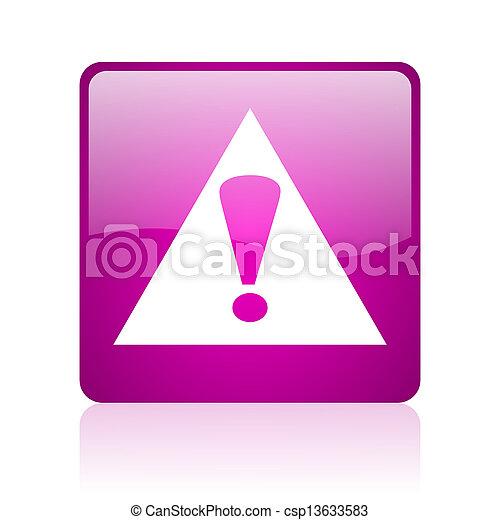 warning violet square web glossy icon - csp13633583