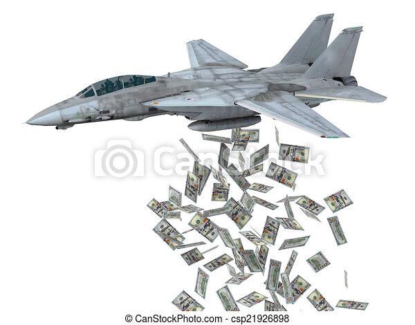 warplane launching dollars instead of bombs - csp21926898