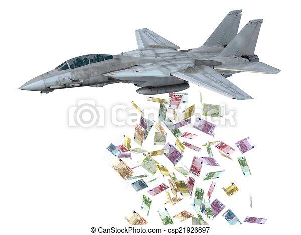 warplane launching euro banknotes instead of bombs - csp21926897