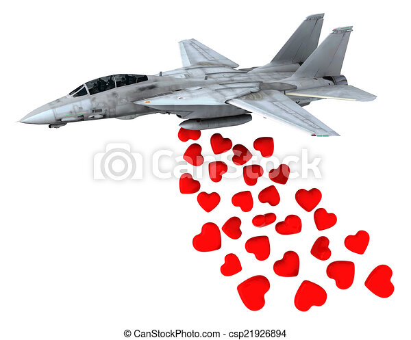 warplane launching hearts instead of bombs - csp21926894