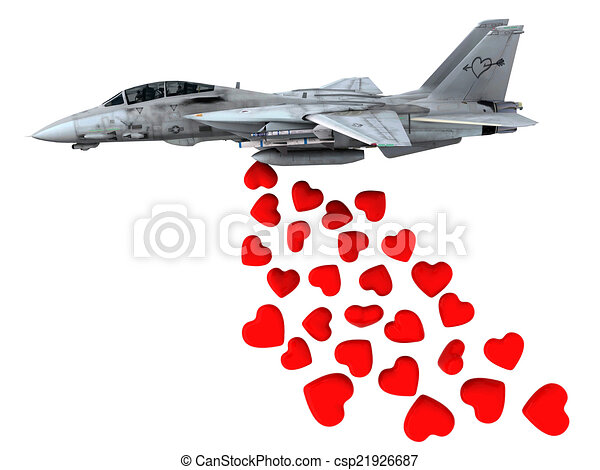warplane launching hearts instead of bombs - csp21926687