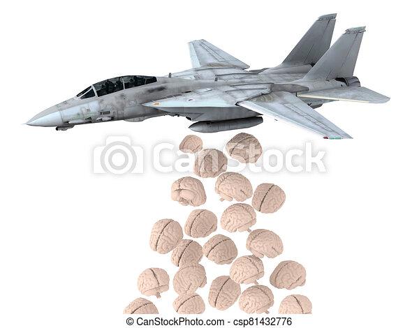 warplane launching human brain instead of bombs - csp81432776