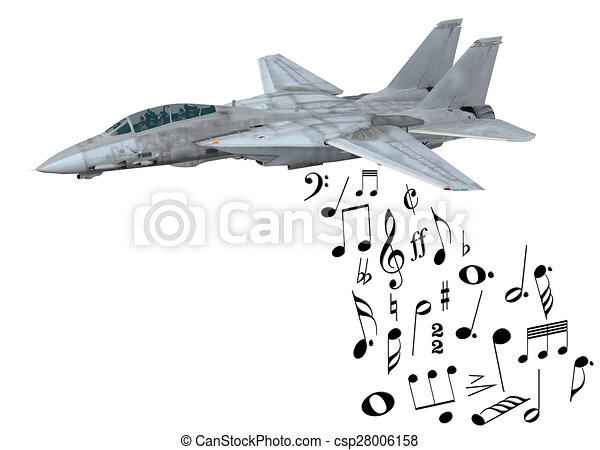 warplane launching musical notes  - csp28006158
