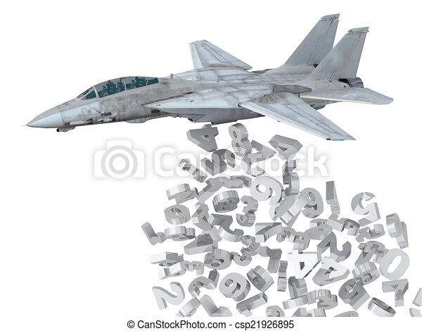 warplane launching numbers instead of bombs - csp21926895