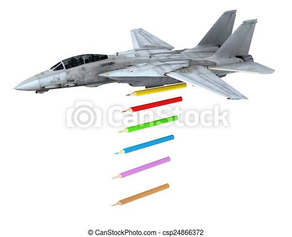 warplane launching pencils instead of bombs - csp24866372