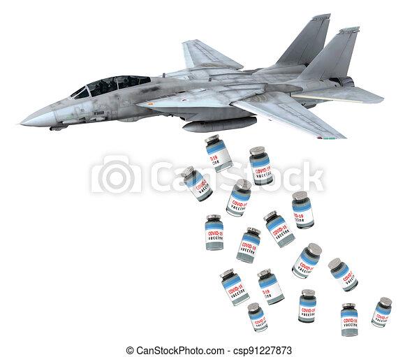 warplane launching vaccine bottles instead of bombs - csp91227873