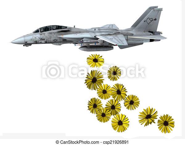 warplane launching yellow flowers - csp21926891