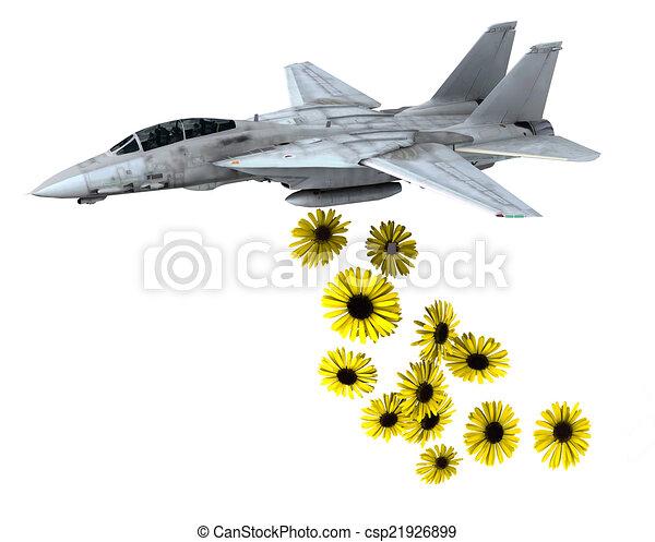 warplane launching yellow flowers instead of bombs - csp21926899