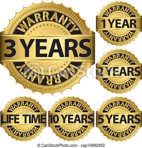 Warranty golden label set, vector - csp10992450