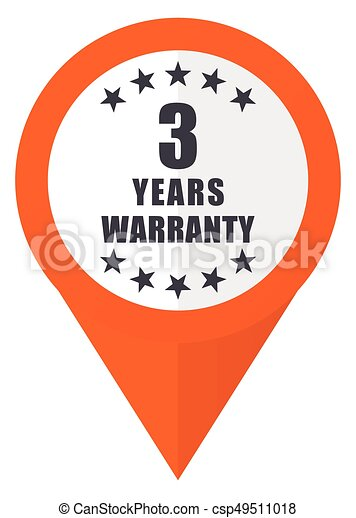 Warranty guarantee 3 year orange pointer vector icon in eps 10 isolated on white background. - csp49511018
