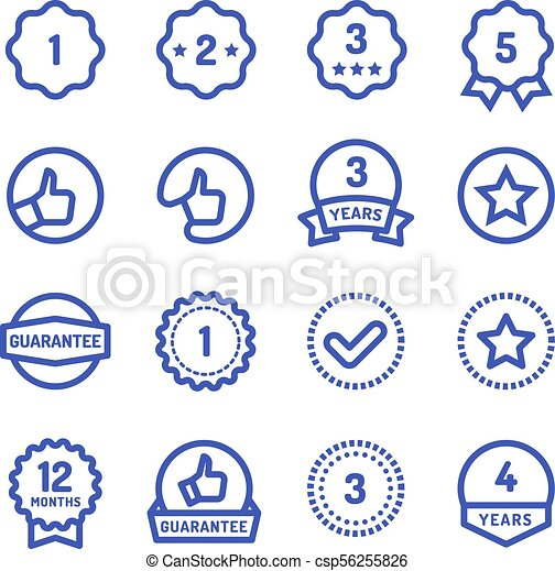 Warranty Stamps Line Icons Goods Durability Guarantee Circular Vector Symbols Isolated