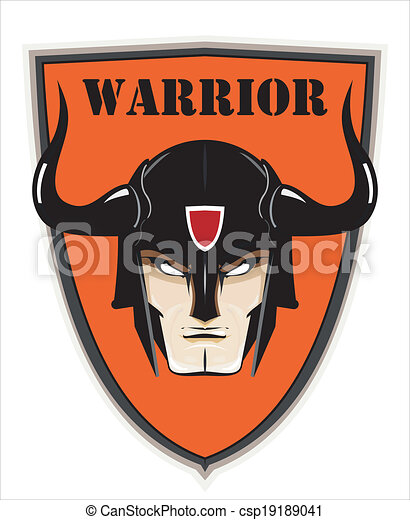 Warrior Head over the Shield - csp19189041