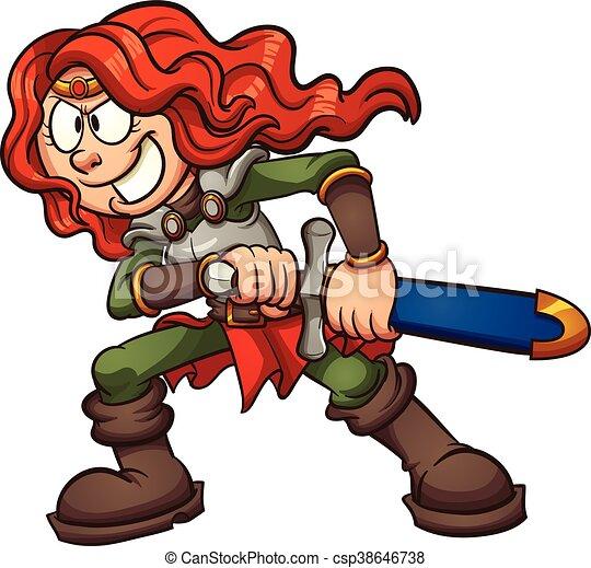 cartoon warrior princess vector clip art illustration with rh canstockphoto com warrior clip art images clipart warrior girl