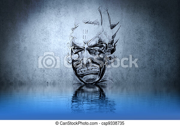 Warrior Skull tattoo on blue wall with water reflections - csp9338735