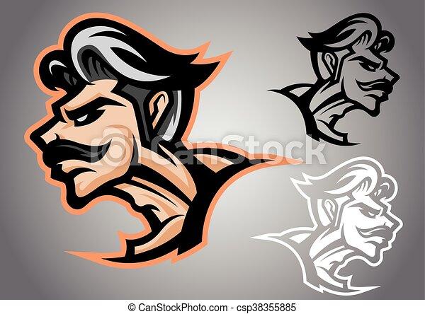 Line Art Vector Design : Warrior thai logo vector emblem illustration design idea