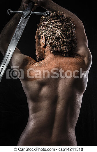 Warrior with sword, Dream, Anger, Dreaming, man covered in mud, naked, in profile, dirty skin - csp14241518