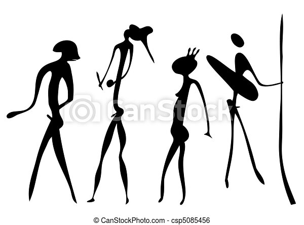 Line Art Figures : Warriors primitive art vector figures looks clip