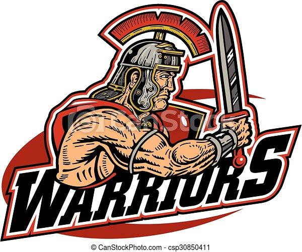 warriors team design with muscular warrior mascot vector clip art rh canstockphoto com viking warrior clipart vector clipart of warriors