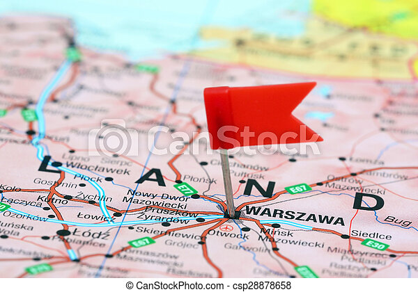Warsaw Europe Map.Warsaw Pinned On A Map Of Europe Photo Of Pinned Warsaw On A Map Of