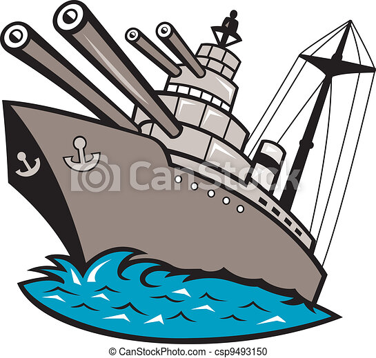 warship battleship boat with big guns illustration of a warship rh canstockphoto com Ship Silhouette Clip Art navy battleship clipart
