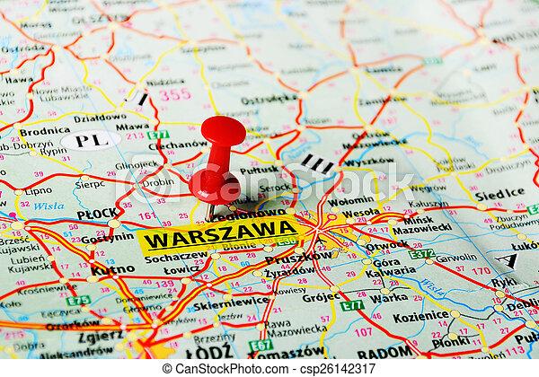 Warszawa ,poland map. Close up of warsaw , poland map with red pin.