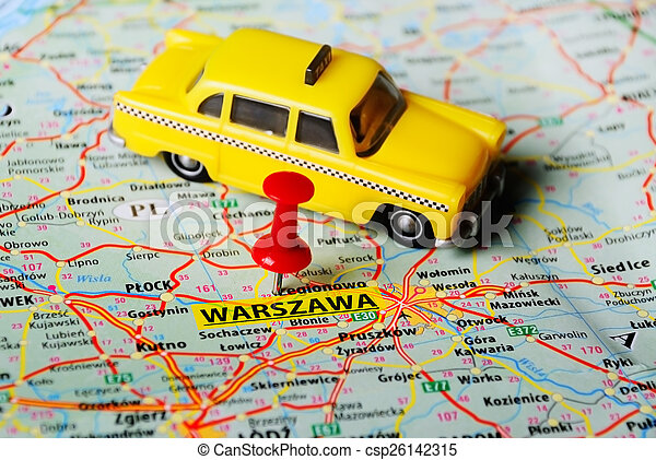 Warszawa ,poland map taxi. Close up of warsaw , poland map with red ...