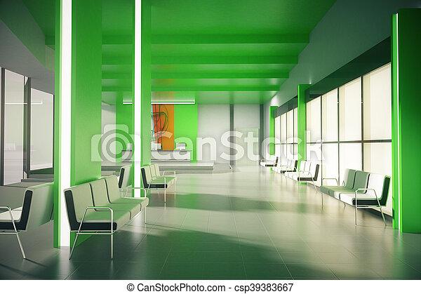 warten, grün, buero, bereich - csp39383667