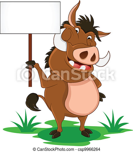 warthog cartoon with blank sign - csp9966264