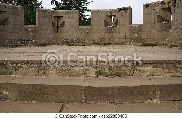 Warwick Castle battlements, England - csp32850485