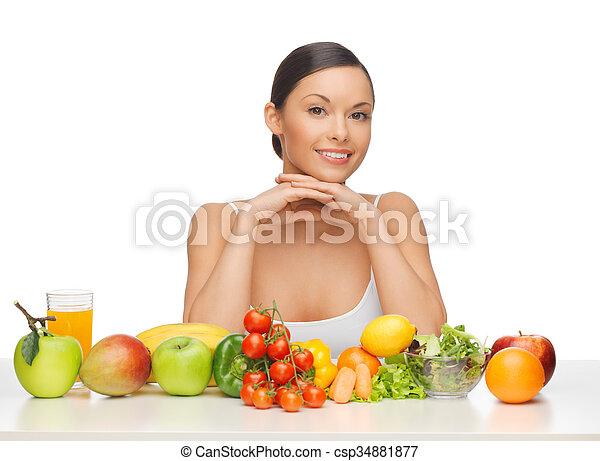 warzywa, kobieta, owoce - csp34881877
