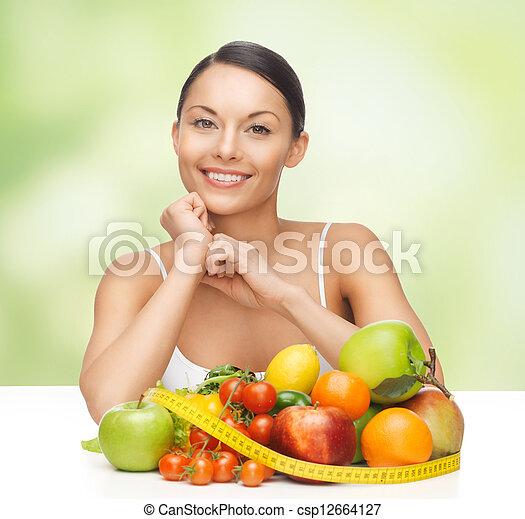 warzywa, kobieta, owoce - csp12664127
