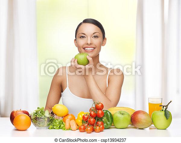 warzywa, kobieta, owoce - csp13934237