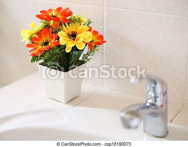 waschen, badezimmer, blumen, becken, künstlich