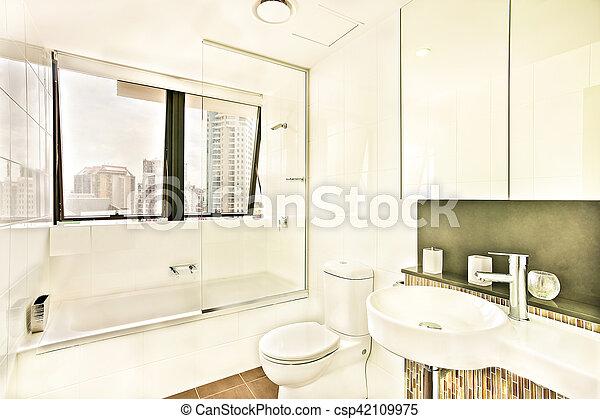 waschraum, windows, tiles., glas - csp42109975