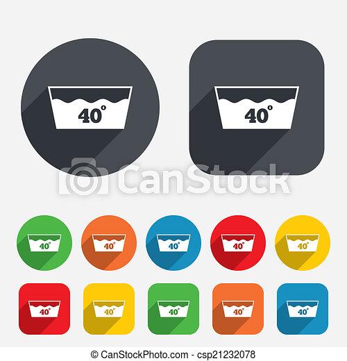 Wash Icon Machine Washable At 40 Degrees Symbol Circles And