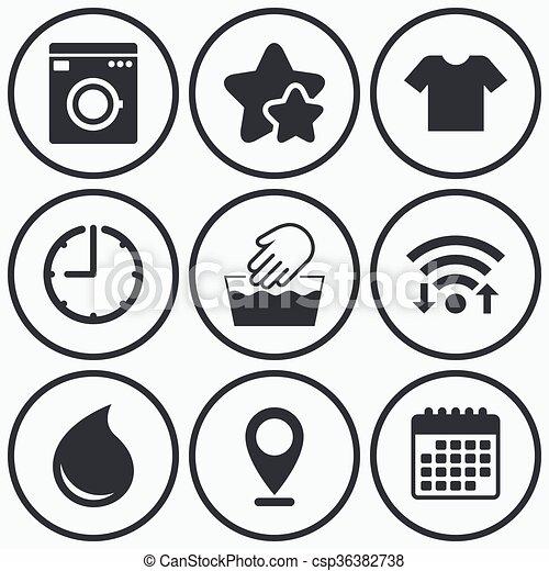 Wash Icon Not Machine Washable Symbol Clock Wifi And Stars Icons