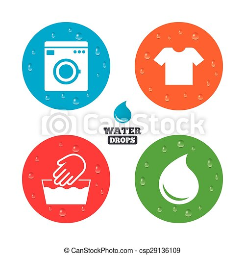 Wash Icon Not Machine Washable Symbol Water Drops On Button Wash