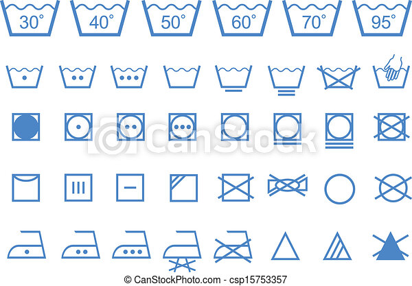 Washing Care Symbols Vector Icons Textile Care Laundry Washing