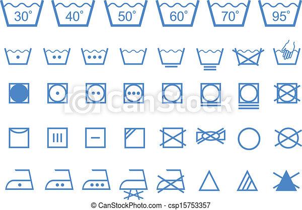 Washing Care Symbols Vector Icons Textile Care Laundry Washing