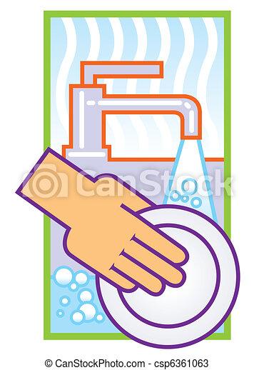 washing dishes illustration - csp6361063