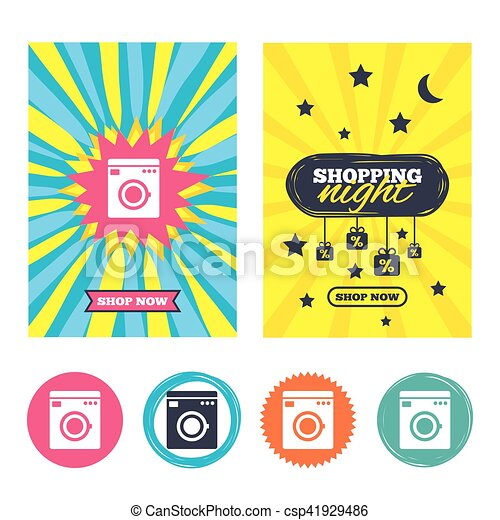 Sale Banners Online Shopping Washing Machine Icon Home Appliances