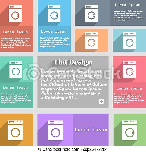 washing machine icon sign. Set of multicolored buttons. Metro style with space for text. The Long Shadow Vector - csp26472284