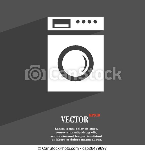 washing machine icon symbol Flat modern web design with long shadow and space for your text. Vector - csp26479697