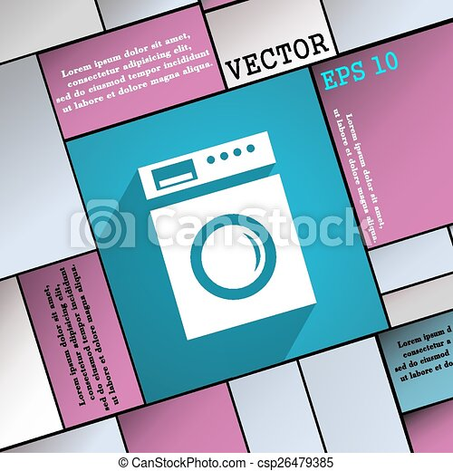 washing machine icon symbol Flat modern web design with long shadow and space for your text. Vector - csp26479385