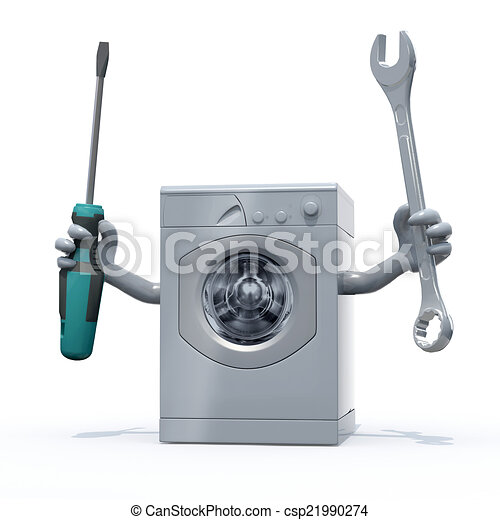 washing machine with arms and tools on hands - csp21990274