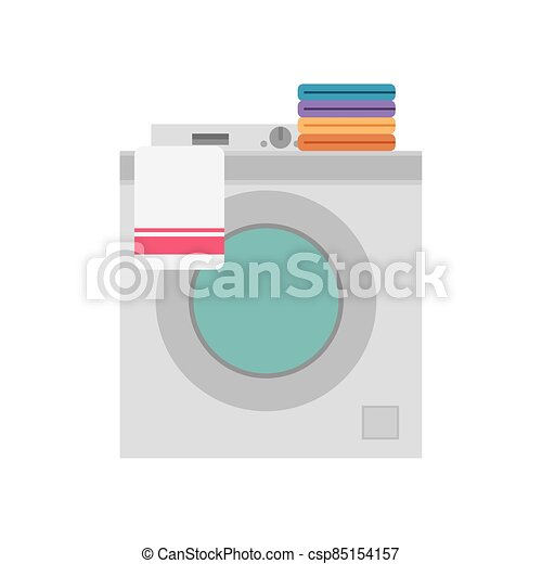 Washing machine with folded clothes - csp85154157