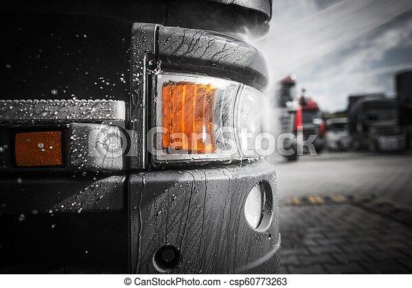 Washing Semi Truck Closeup