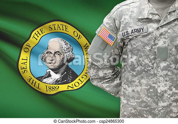 washington, -, állam, bennünket, katona, lobogó, háttér, amerikai - csp24865300