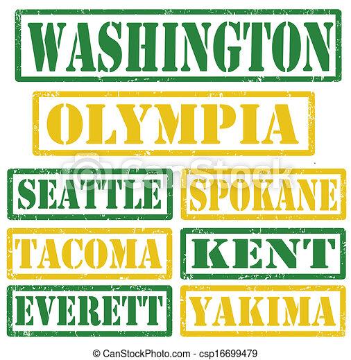 Washington Cities stamps - csp16699479