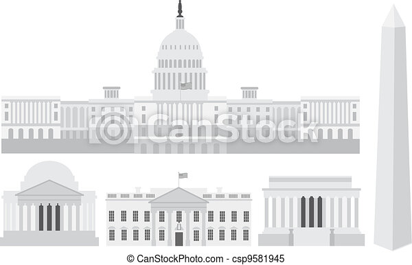 Washington DC Capitol Buildings and Memorials - csp9581945